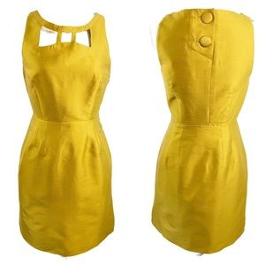 Anthro MAEVE Chardonnay Mustard Cut Out Dress